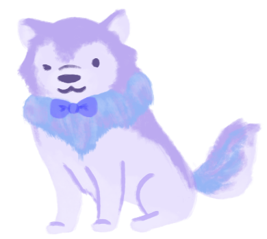 A pond-sona of Kacen Callender, a purple wolf with blue highlights, wearing a bowtie.