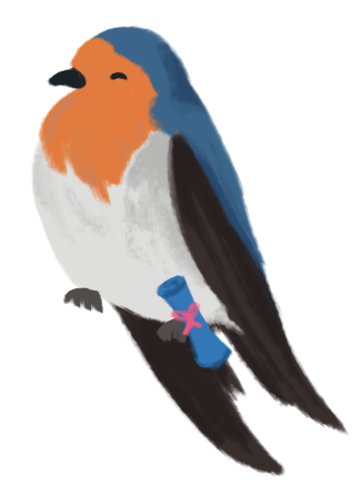 An illustration of Michelle as a welcome swallow, smiling, with a scroll attached to their leg.
