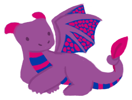 An illustration of a purple, pink, and blue dragon.