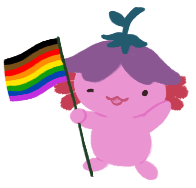 An illustration of Xiaolong the axolotl, waving her hand and winking at you while holding up a flag with the inclusive Pride flag - horizontal stripes of black, brown, red, orange, yellow, green, blue, and purple.