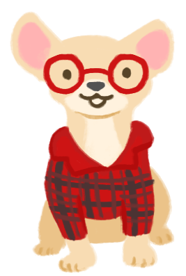 An illustration of Carolina as a chihuahua wearing bright red glasses and a red plaid shirt.