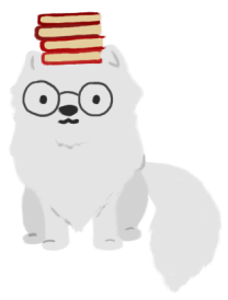 An illustration of an arctic fox wearing glasses and balancing a stack of red books on her head.