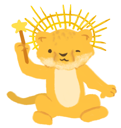 Illustration of Joel as a lion cub, sitting and winking, holding a star wand and wearing a sun crown.