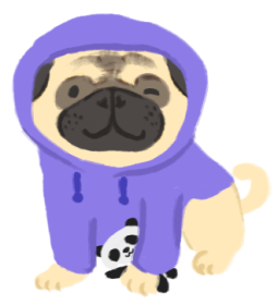 Illustration of Kait as a pug wearing