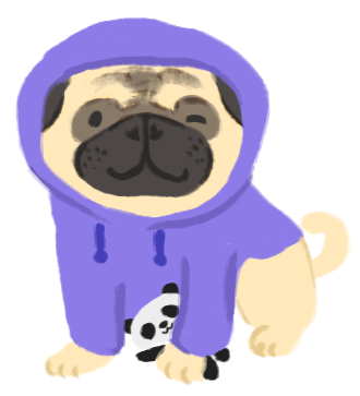 Illustration of Kait as a pug wearing a purple hoodie and holding a panda soft toy.