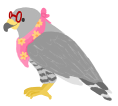 An illustration of Min as a grey hawk, wearing a floral bandanna, and wearing bright red glasses.