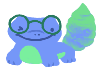 An illustration of Nina Varela as a green and blue gecko with a big fat tail, wearing glasses and smiling.
