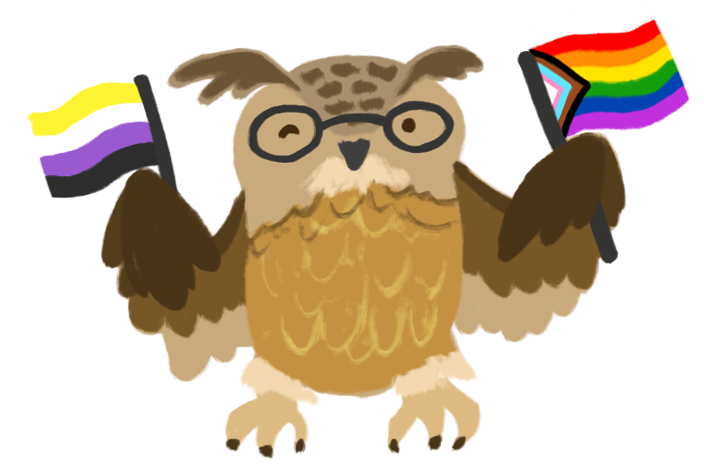 Illustration of an eagle owl, wearing glasses, holding a nonbinary flag and inclusive pride rainbow flag.