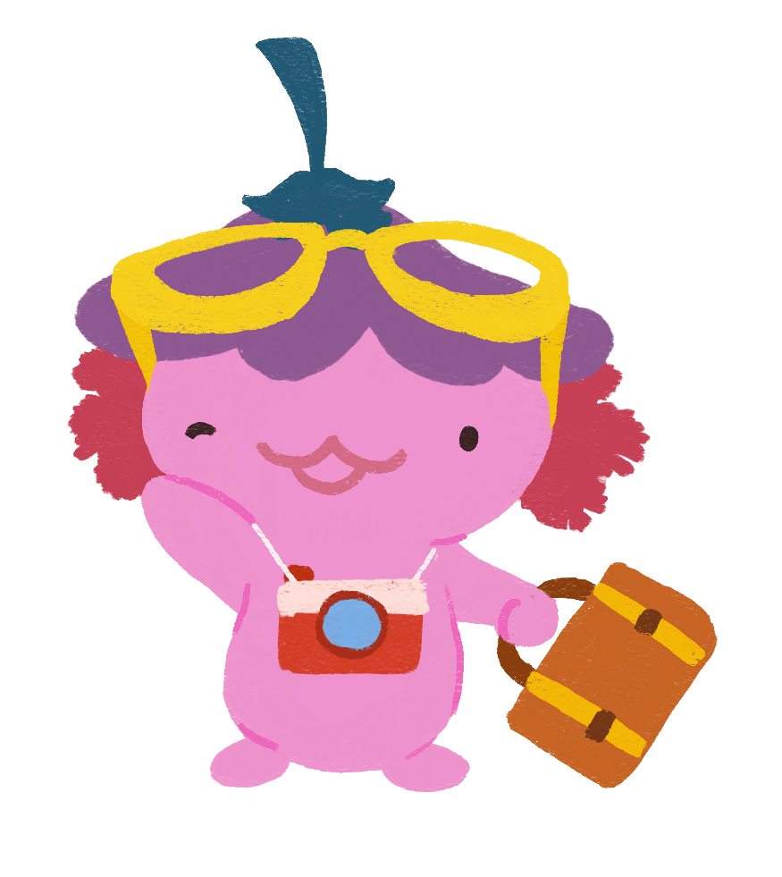 Xiaolong the axolotl, wearing big glasses on her head, holding a suitcase, and a camera around her neck.