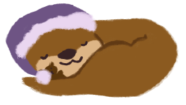 An illustration of Cuddle the otter, sleeping.