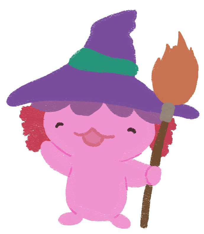 An illustration of Xiaolong the axoltol, holding onto a broomstick, smiling, and waving at you!