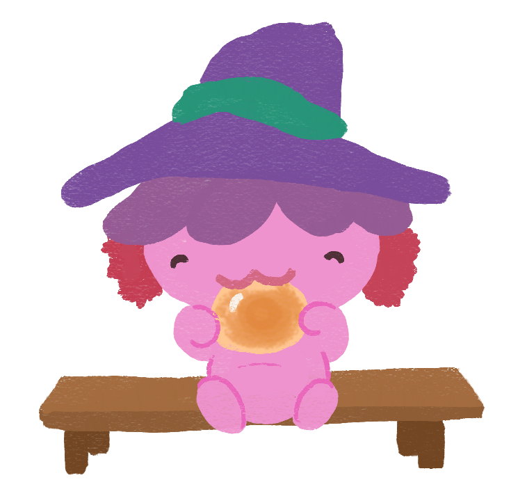 An illustration of Xiaolong the axolotl wearing a witch hat and sitting on a bench, happily eating a baked bun.