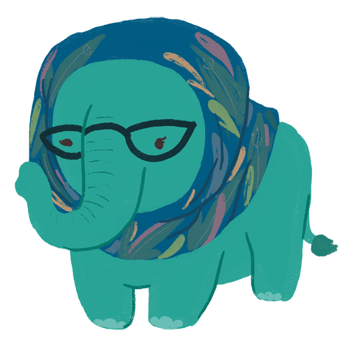 An illustration of Hanna Alkaf as a teal elephant, wearing glasses and wearing a hijab.