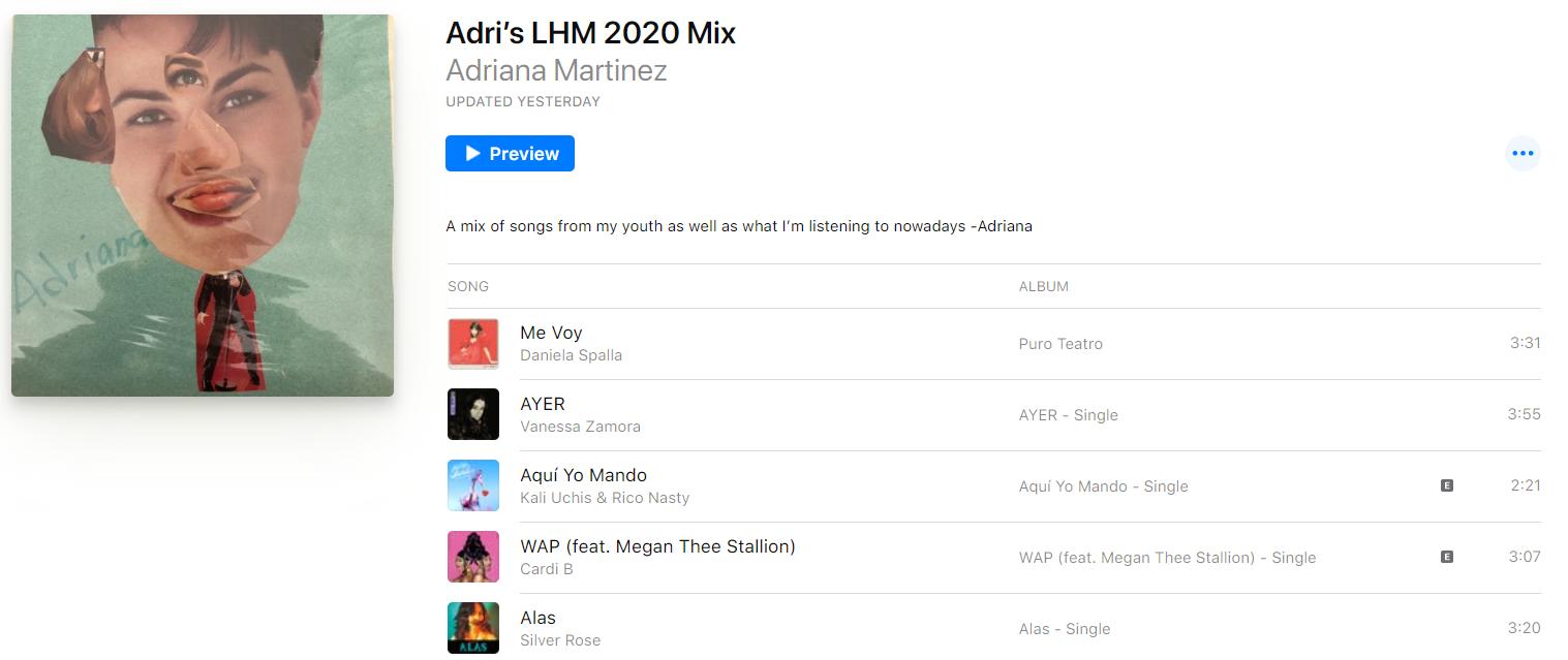 A screenshot of Adriana's LHM 2020 playlist.