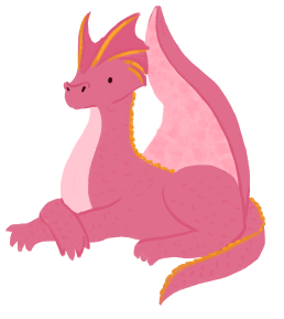 An illustration of Amparo Ortiz as a pink dragon with golden horns, sitting down and crossing her forearms.