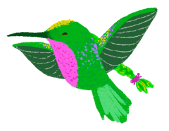 An illustration of Anna Meriano as a hummingbird with gold and purple accents, a pink feathered chest, and with a ponytail.