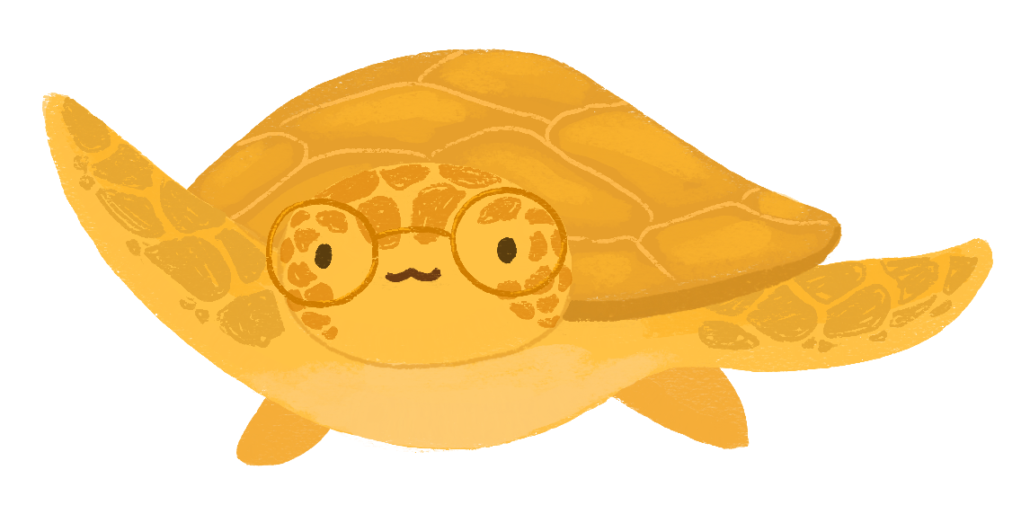 Illustration of Nina Moreno as a golden turtle, fins out wide, and wearing golden rimmed roundglasses.