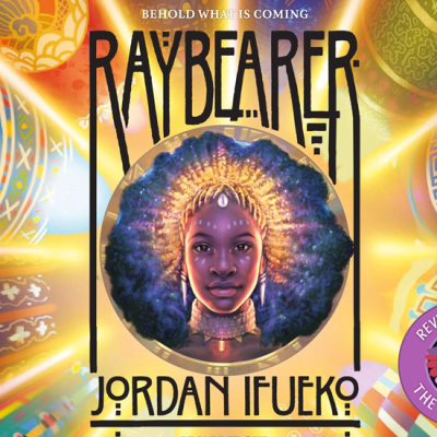 Raybearer by Jordan Ifueko. Tagline: Behold what is coming. A badge at the bottom-left that says, 'Reviewed by CW, The Quiet Pond'. In the centre is a image of Xiaolong, the pink axolotl wearing a flower hat, waving at you.