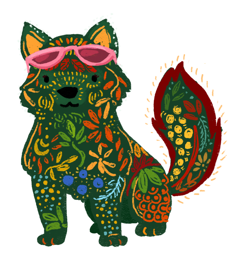 An illustration of Romina Garber as a she-wolf, wearing pink sunglasses.