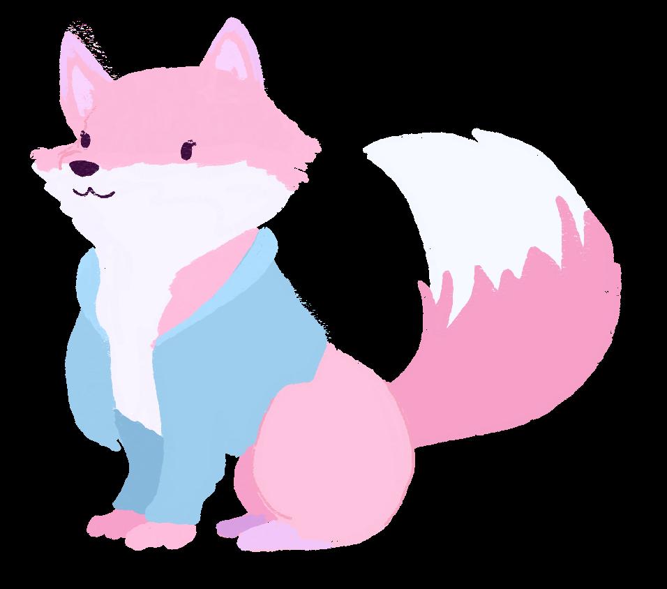 an illustration of karina as a light pink fox, wearing a blue cardigan
