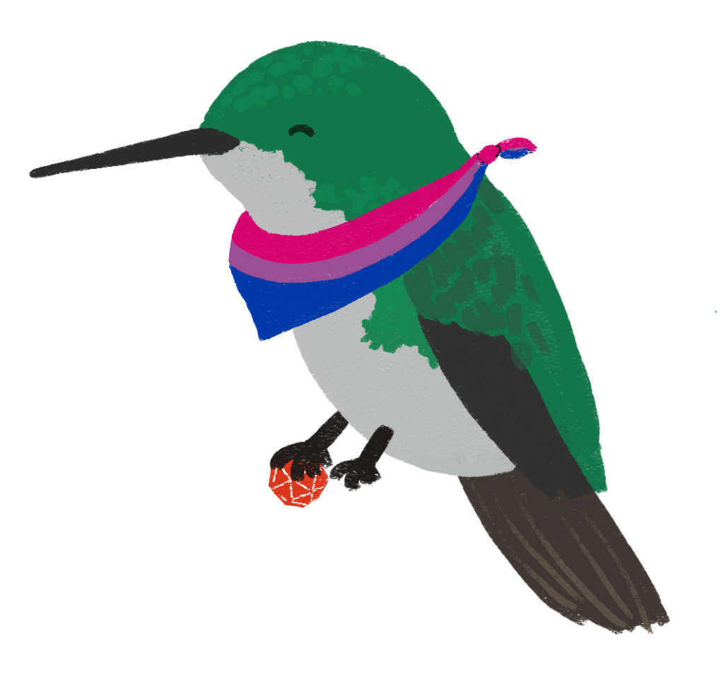 An illustration of a green hummingbird, sitting and stationary, wearing a bisexual coloured scarf around its neck and holding a 20-sided die.