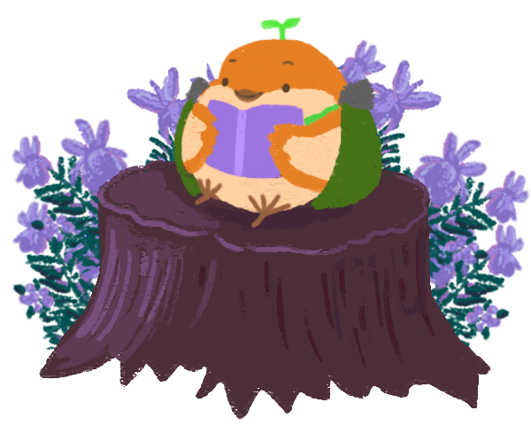 sprout the sparrow on a stump, reading a book.