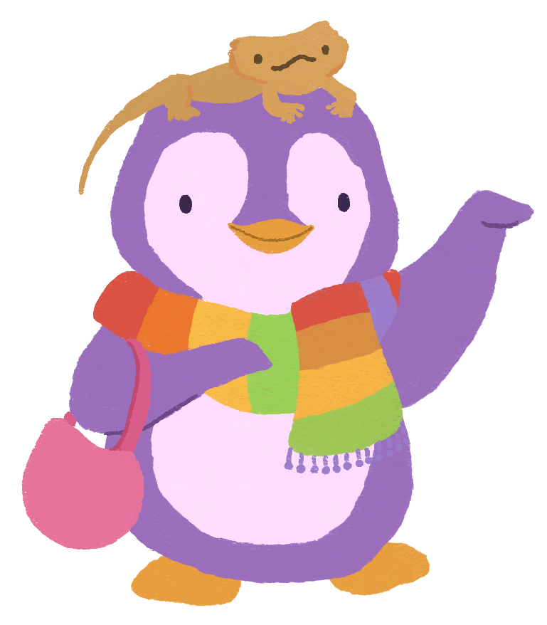 Diana Pinguicha as a purple and pink penguin, waving at you, wearing a rainbow scarf