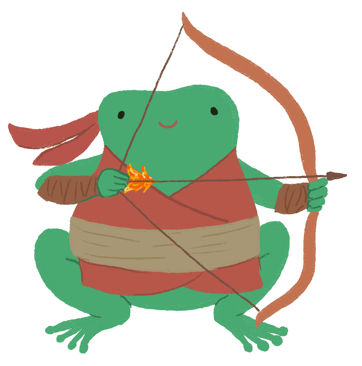 Varian the toad dressed up as Hou Yi the archer from Chinese mythology.