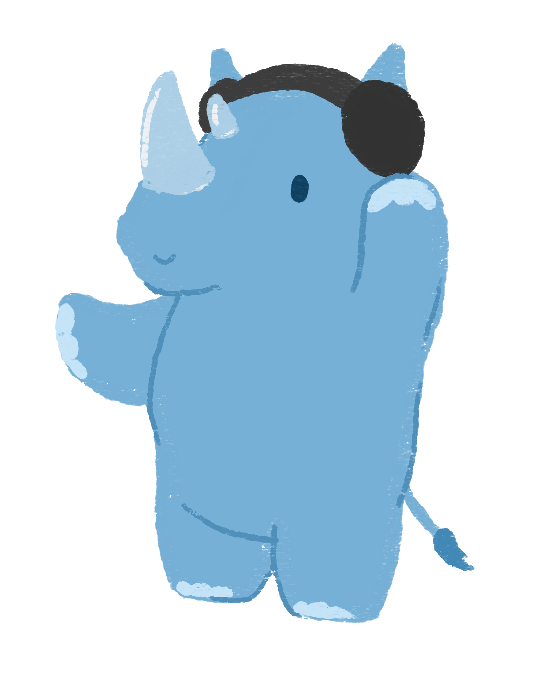 An illustration of Dustin Thao as a blue rhino, standing on his legs, listening to headphones.