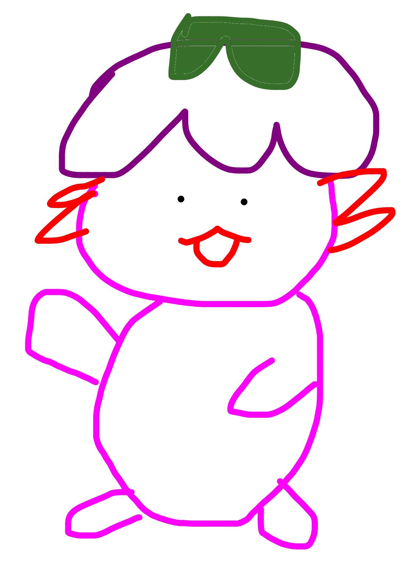 An illustration of Xiaolong the axolotl, simply drawn.