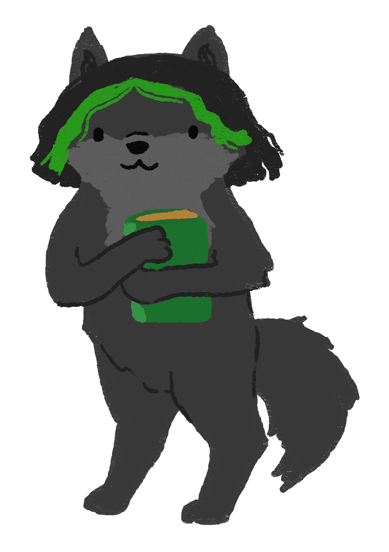 An illustration of a dark grey wolf with green hair streaks and holding a green book.