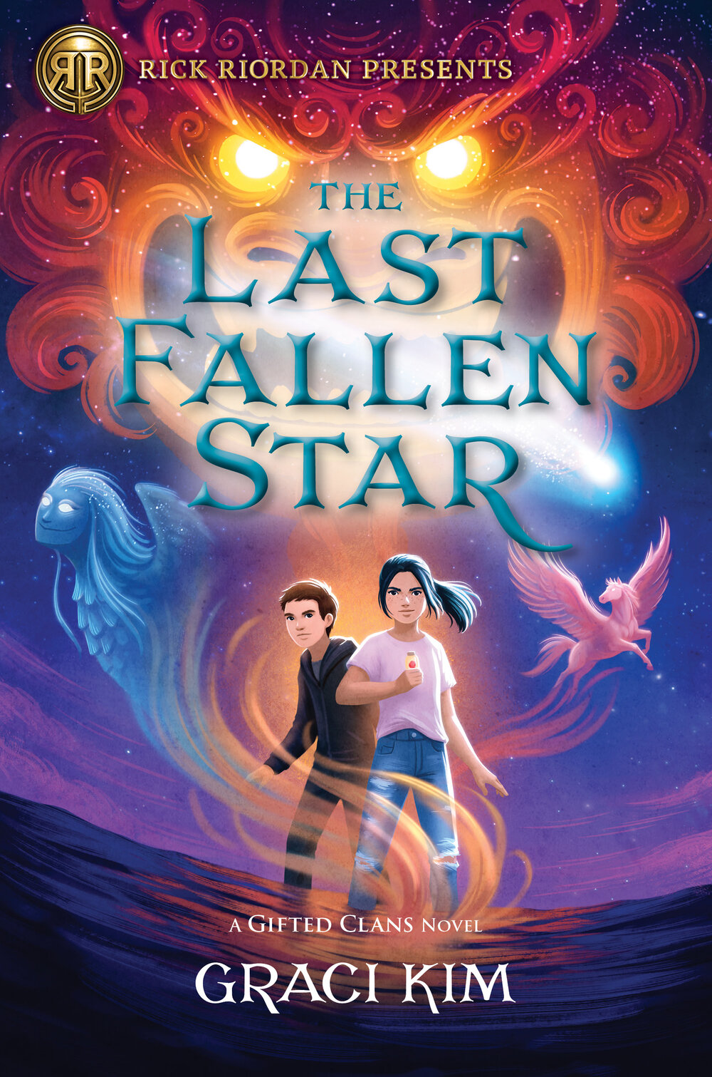 The cover for The Last Fallen Star. A Korean girl stands determinedly in the center, while the silhouette of mythical Haetae is seen in the evening sky.