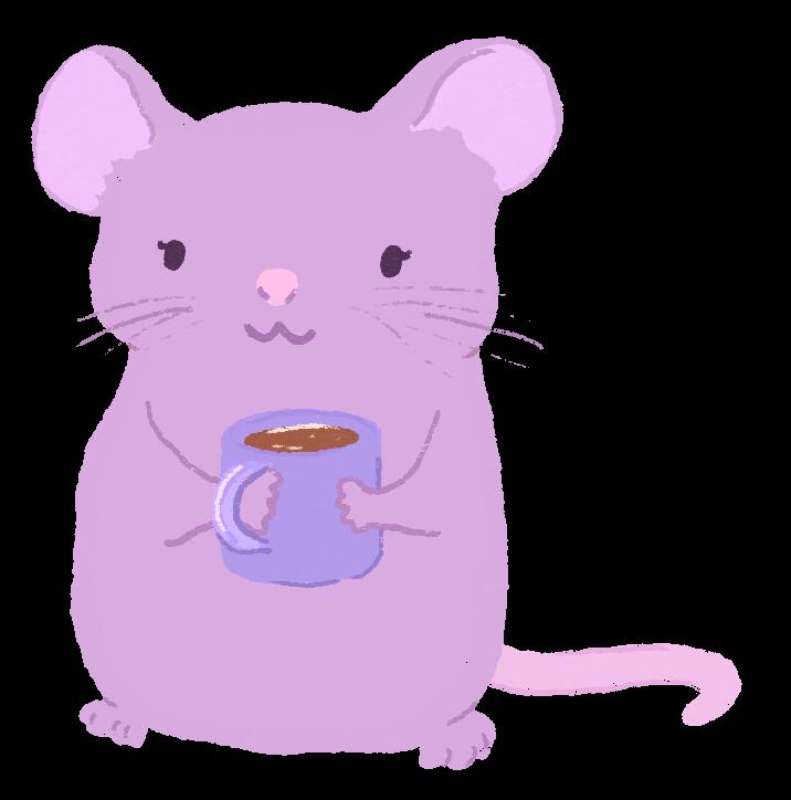 An illustration of Mariko Turk as a mauve mouse, smiling, holding a coffee mug.