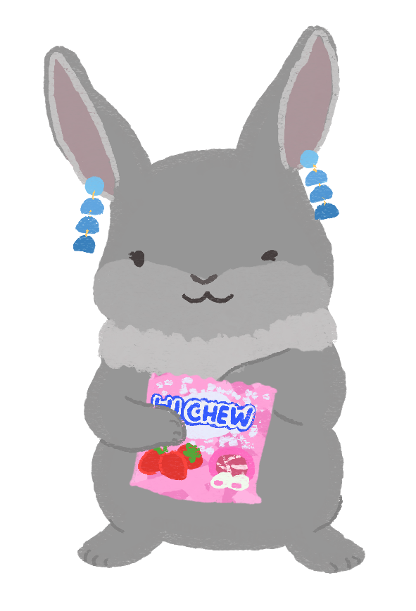An illustration of Sarah as a grey b-unny, with one paw in a Hi-Chew lollies packet, while wearing blue dangly earrings.