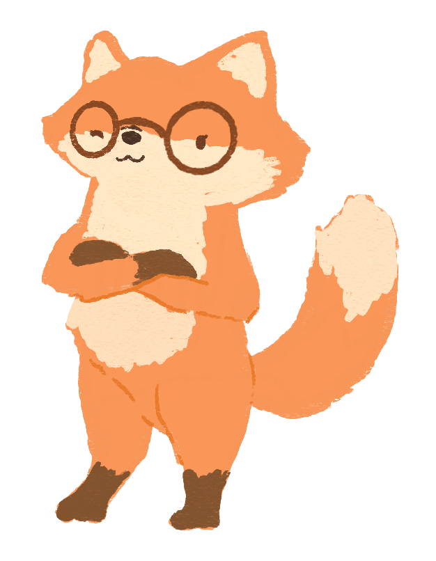 An illustration of a orange fox, wearing brown round glasses, folding her arms and smirking playfully at you with a wink.