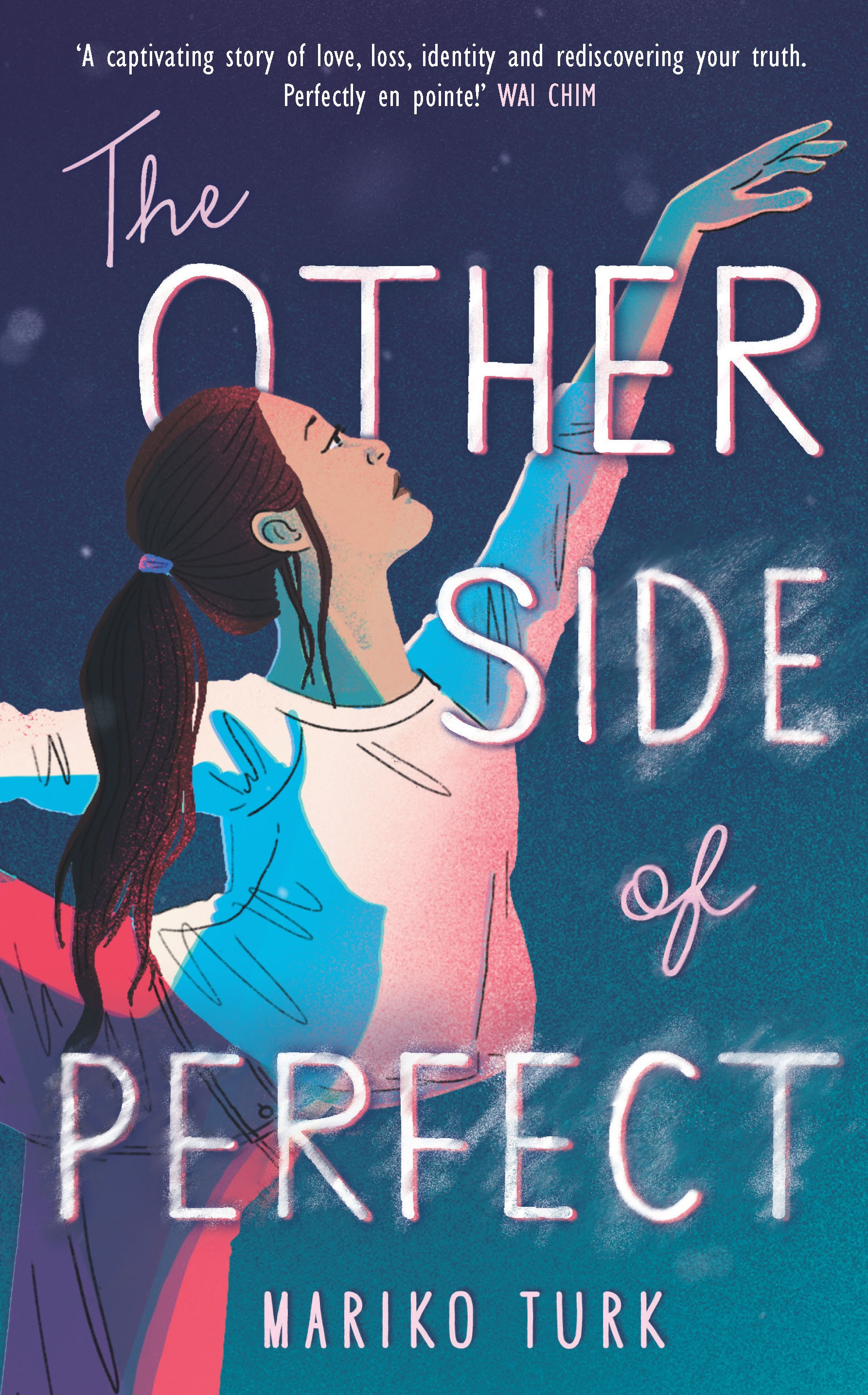 Cover for The Other Side of Perfect by Mariko Turk. The cover depicts a girl with long black hair, her arm outstretched like a dancer's, doing a