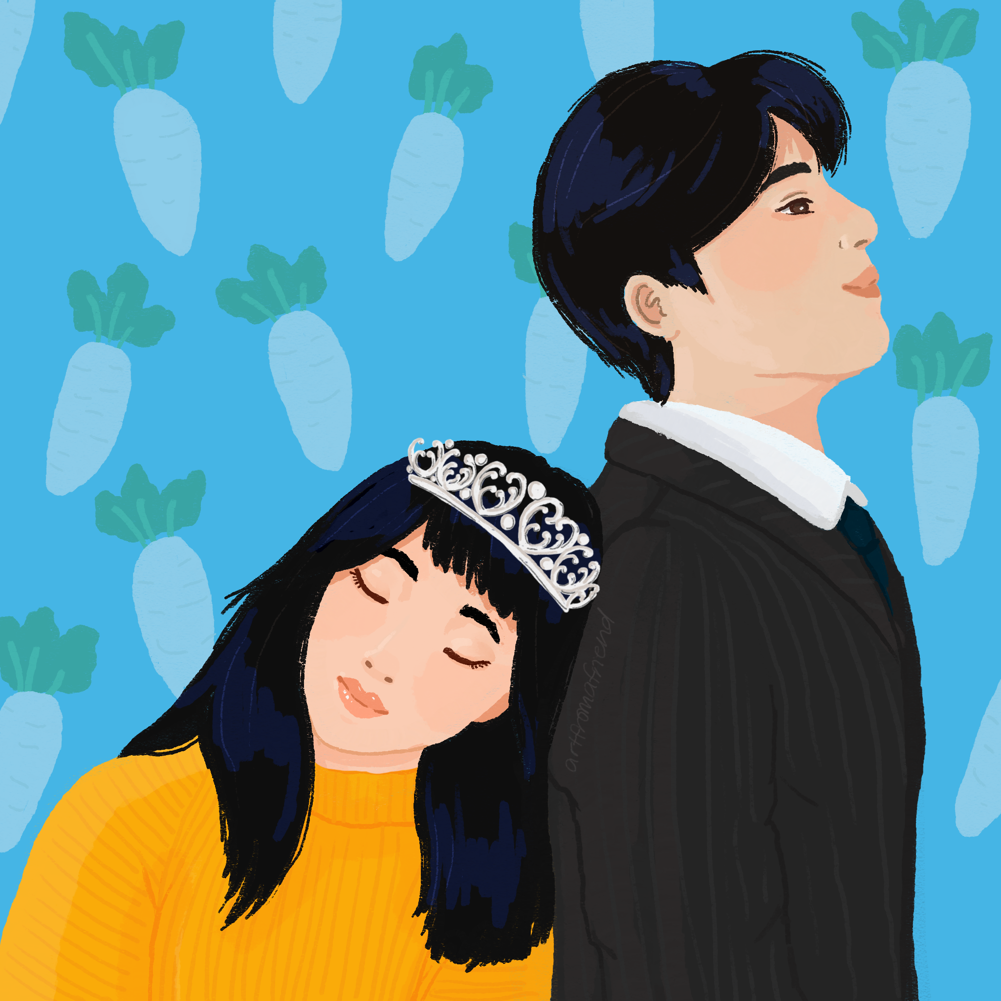 An illustration of a tall Asian man on the right, facing the right and looking up and smiling, with a shorter Asian girl wearing a yellow turtle neck and tiara, closing her eyes and leaning against his back.