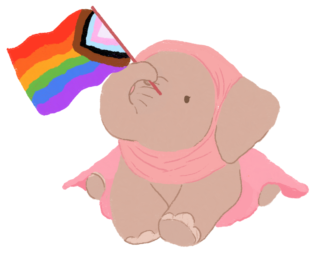 An illustration of a light brown elephant, holding the pride flag with her trunk, while wearing a pink hijab and pink skirt.