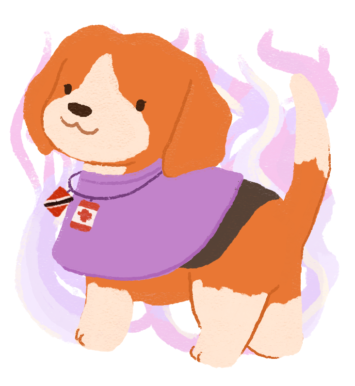 An illustration of a beagle wearing a purple cape, wearing a pendant with the Canadian and Tobago and Trinidad flag, with mystical swirls around her.
