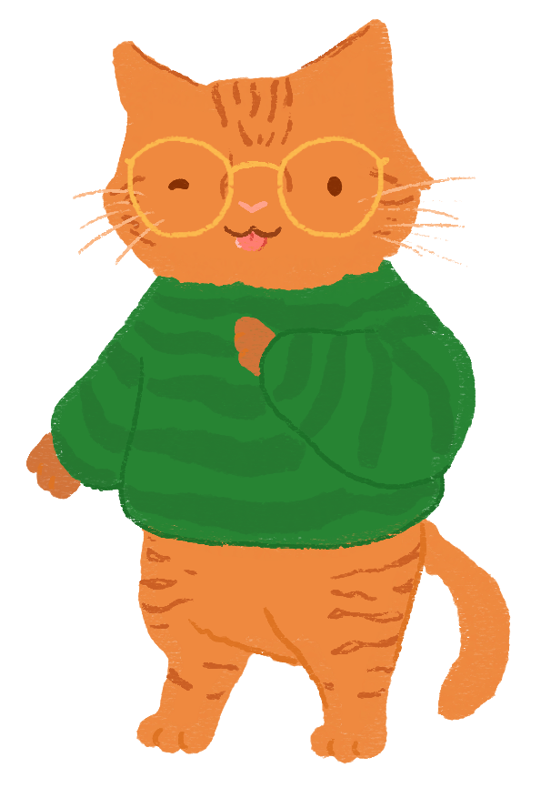 An illustration of a orange tabby cat, wearing a green sweater and gold glasses.