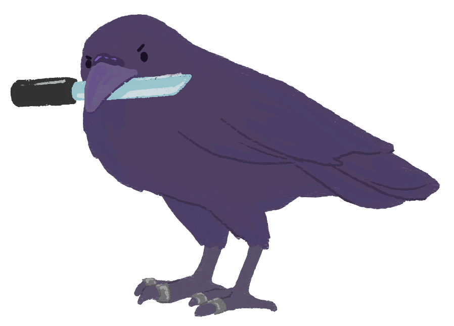 An illustration of a crow wearing silver rings and holding a dagger in its beak.