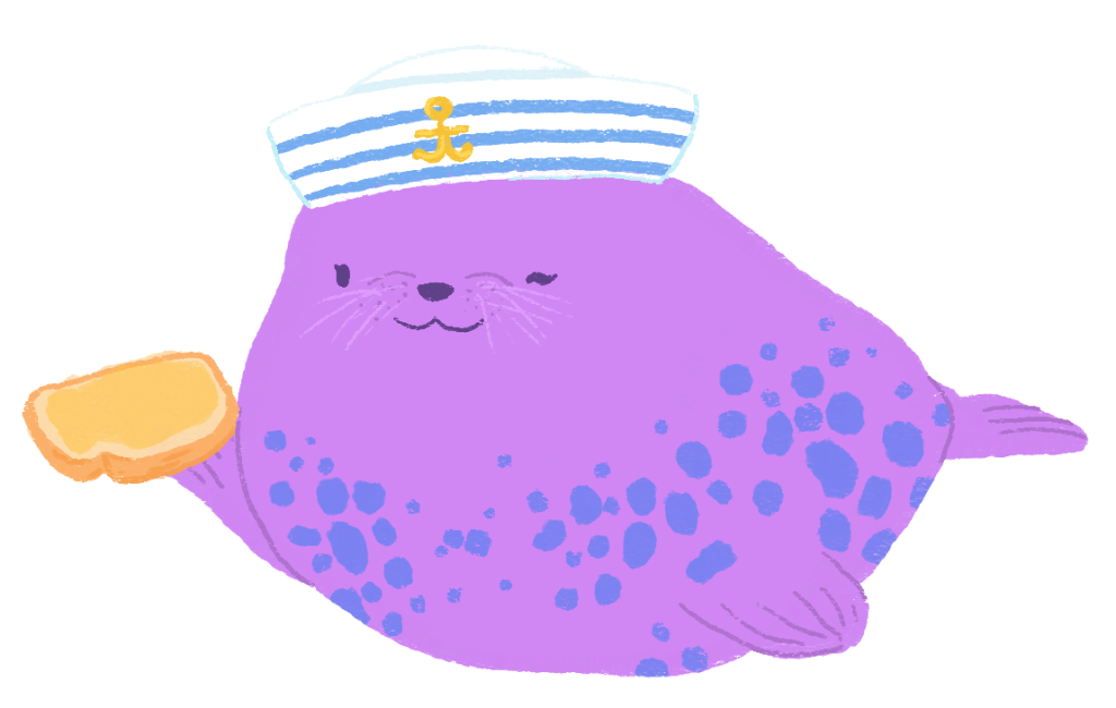 An illustration of a purple seal with blue spots, wearing a sailor hat and holding a piece of toast.