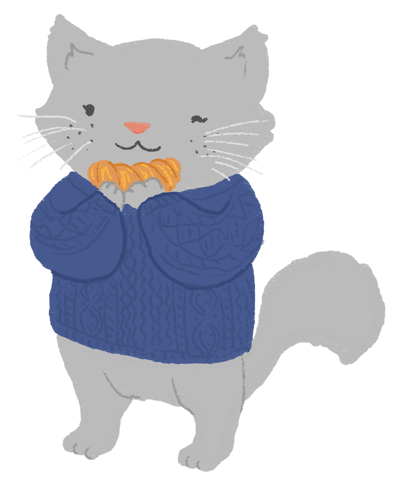 An illustration of a grey cat wearing a navy fisherman's sweater, holding a croissant.