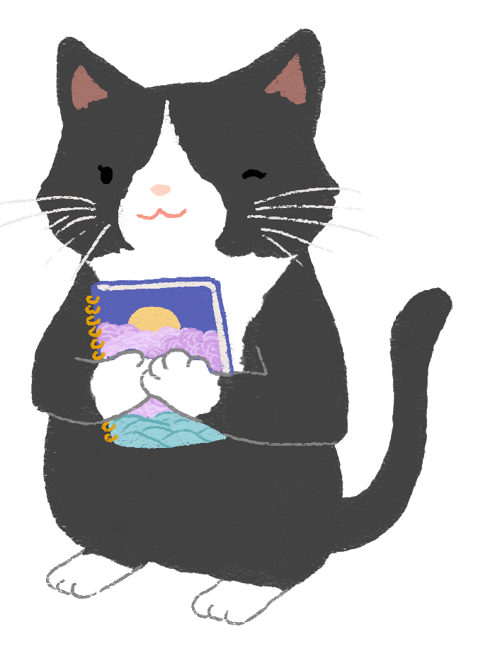 An illustration of a black and white tuxedo cat, holding a notebook.