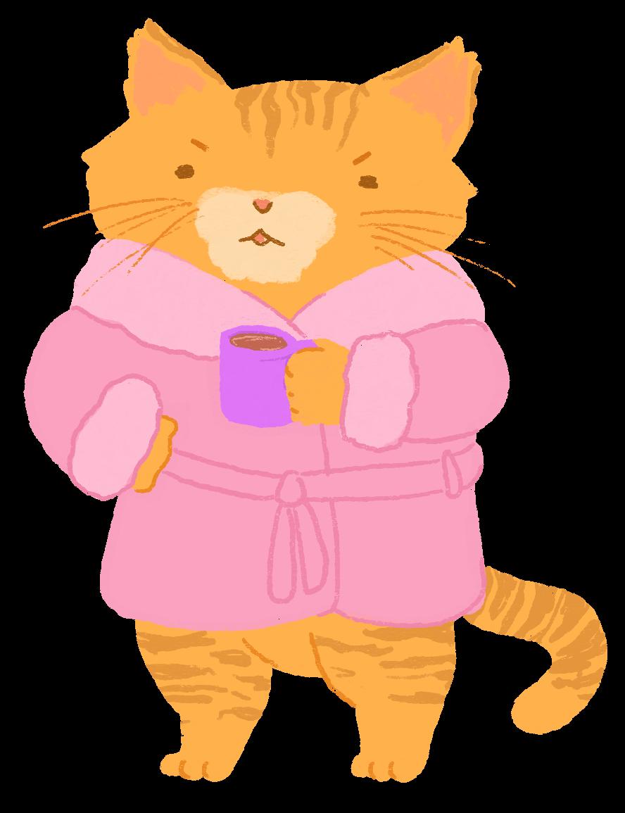 An illustration of an orange tabby cat, looking grumpy, wearing a